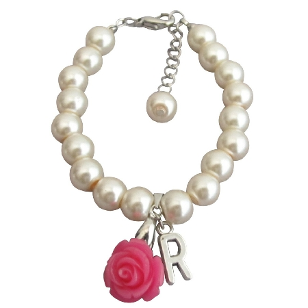 Ivory Pink Pearl Bracelet Flower Girl Personalize Bracelet W/ Initial