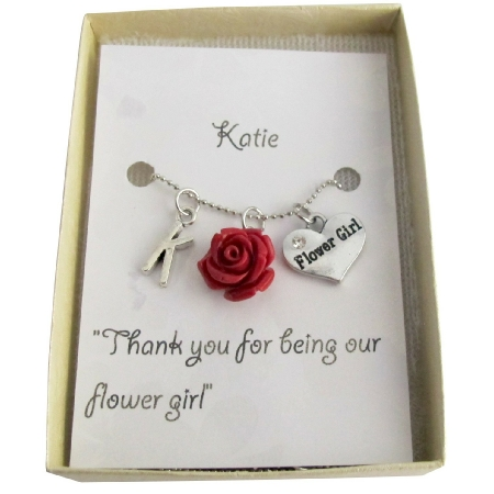 Wedding Gifts Personalized Flower Girl Necklace Rose Pendant