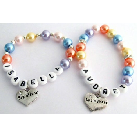 Little Girls Name Bracelet Big Sister Little Sister Pearl Bracelet