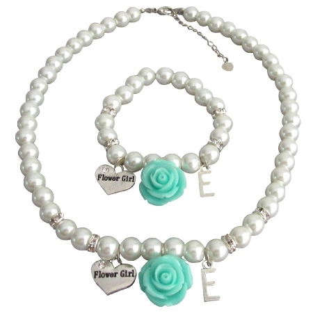 Children Personalized Necklace Bracelet White Flower Aqua Blue Flower