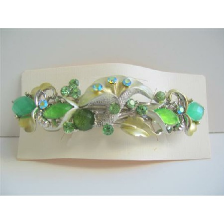 Green Enamel Hair Barrette Flower Decorated Barrette Clip