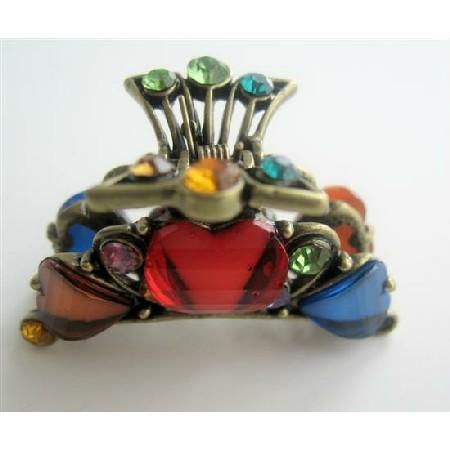 Victorian Claw Clip Enamel w/ Crystals Claw Clip