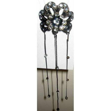 Hair Comb clip Art Work Flower in oxidise w/ Rhinestones