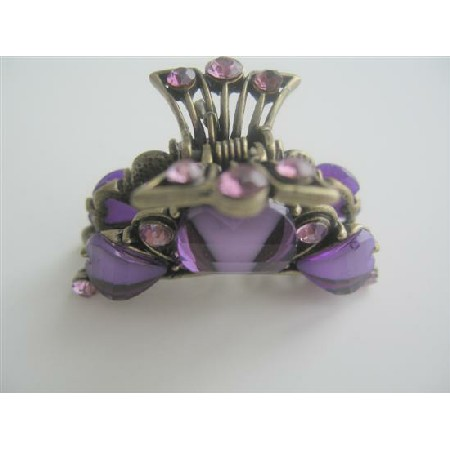 Claw clip Art Work Enamel Purple w/ Crystals