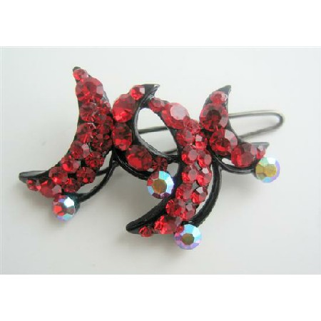 Red Hair Barrette Classy Red Crystals Encrusted Hair Clip Barrette