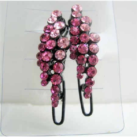 Shimmering & Sparkling Pink Crystals Hair Barrette Clip Accessory