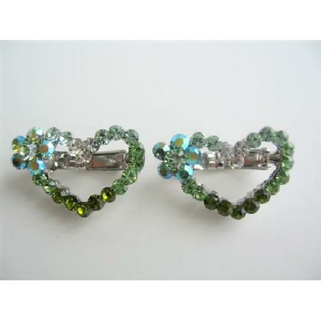 Heart Hair Barrett Pair Sparkling Green Crystals Hair Pin / Clip