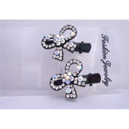 Sparkling Simulated Diamond Bow Hair Clamp Clip