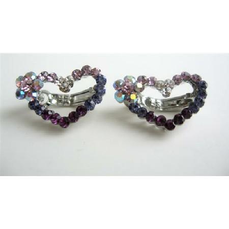Amethyst Heart Barrette Austrian Crystals Hair Barrette Pin Clip
