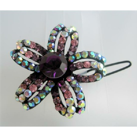 Gorgeous Multi Colored Flower Hair Barrette Crystals Hair Barrette