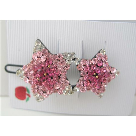 Star Crystals Hair Clip Sparkling Rose Pink Crystal Hair Barrette Clip