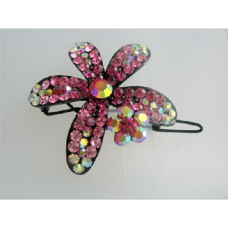 Beautiful Hair Barrette Pink Flower Crystals Floral Hair Barrette