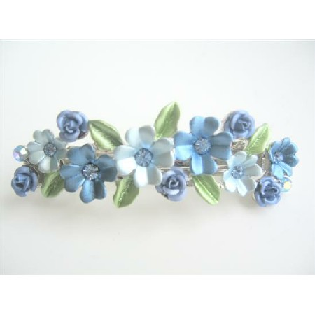 Flower Hair Barrette Blue Enamel Exclusive Decorated Barrette Clip