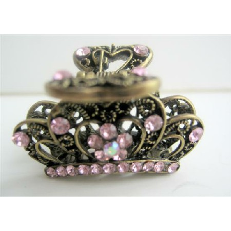 Pink Crystals Hair Claw Clip Antiquie Victorian Traditional Hair Clip