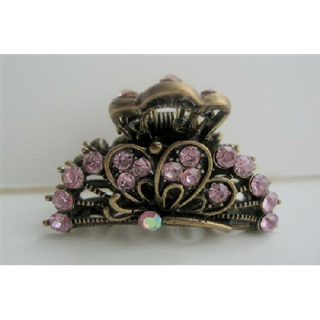 Sexy Beautiful Pink Crystals Hair Claw Clip Antiquie Gold Hair Clip