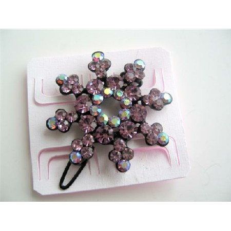 Vintage Crystals Hair Barrette Pink Flower Encrusted Crystals Barrette