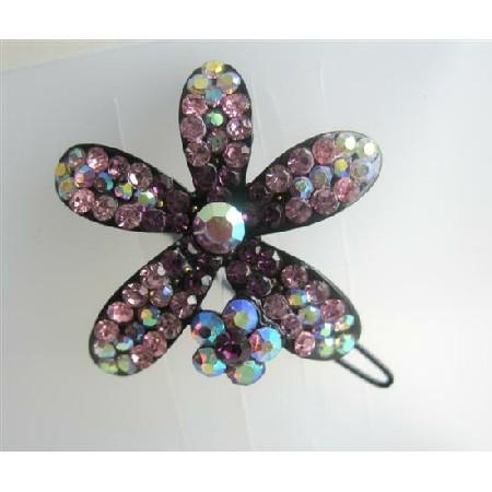 Sparkling Amethyst Encrusted Crystals Flower Barrette Hair Clip