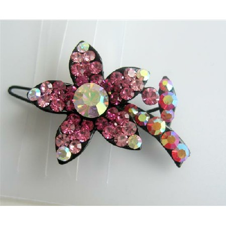 Crystals Barrette Hair Clip Pink Flower