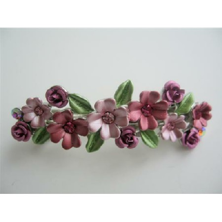 Pink Hair Barrette Enamel Flower Hair Clip Barret