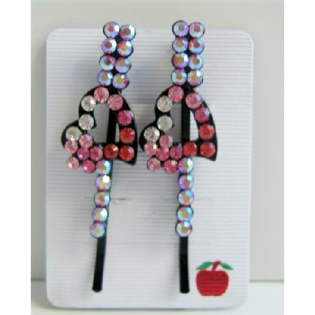 Heart Hair Jewelry Accessories Embedded Sparkling Rose Fuchsia Crystal