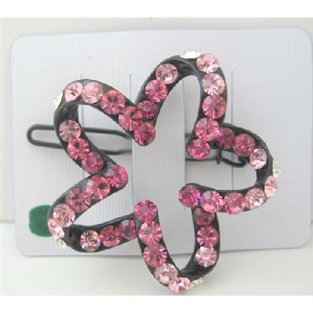 Pink Crystals Sparkling Star Flower Hair Barrette Hair Barrette