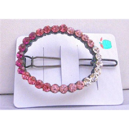 Rose Crystals Barrette Rose Pink LIght & Dark w/ Clear Crystals Clip