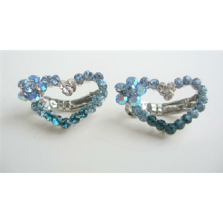 Austrian Crystals Hair Barrette Aquamarine Crystal Heart Barrette Clip