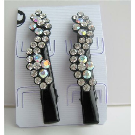 Black Hair Pin Crystals Flower Pair Hair Pin Clip Hair Accessories