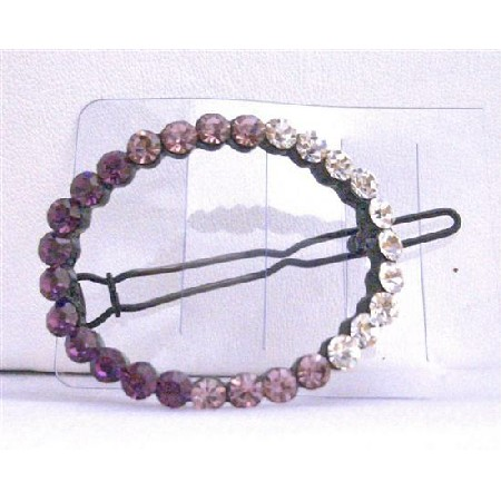 Crystals Oval Barrette Pair Amethyst & Multi Crystals Hair Accessories