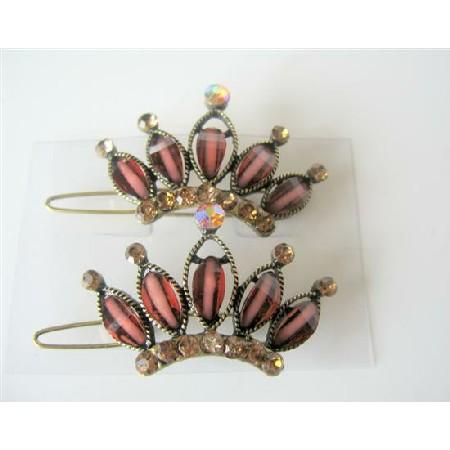 Brown Hair Clip w/ Topaz Crystals Sparkling Crown Hair Clip