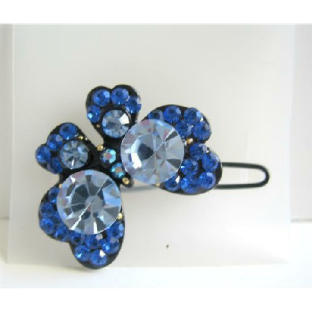 Blue Butterfly Hair Accessories Fully Encrysted w/ Blue Crystals Clip