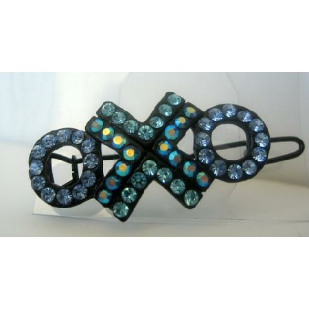 Country Blue Green Crystal Barrette Party Wear Austrian Crystals Clip