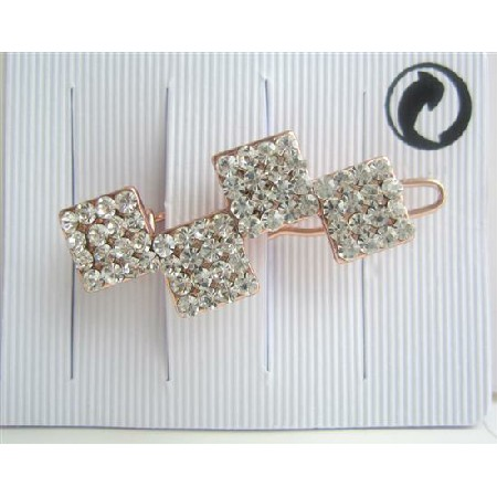 Simulated Diamond Hair Barrette Pair Cubic Zircon Accessories Clip