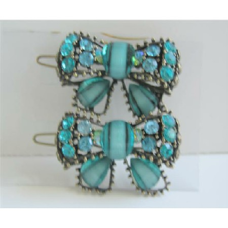 Blue Green Haire Accessories Bow Sparkling Crystals Hair Clip