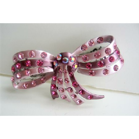 Bridal Hair Accessory Austrian Crystals Hair Barrette Party Wear Bow