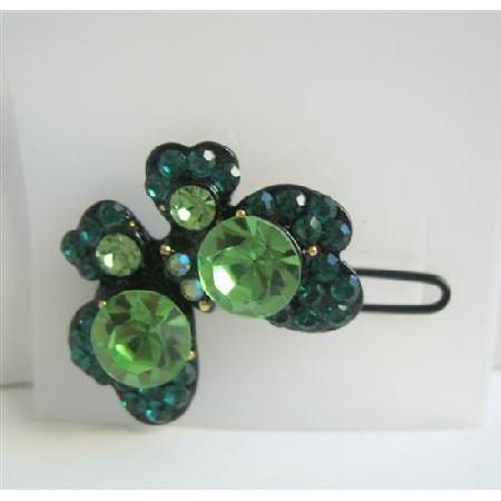 Emerald Olive Green Butterfly Hair Clip Green Crystal Hair Accessories
