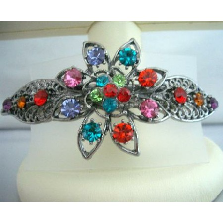 Bridal Jewelry Oxidized Multi Crystals Bridemaid Party Wear Hair Clip