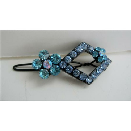 Aquamarine Sparkling Crystals Hair Barrette Pair