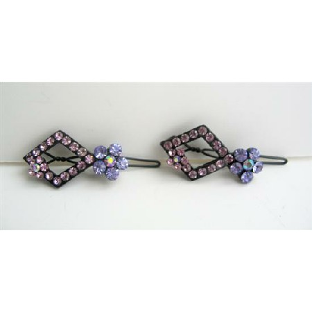 Pink & Blue Pair Flowr Crystals Sparkling Crystals Hair Barrette Pair