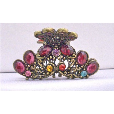Ruby Red Crystals Hair Accessories Clamp Hair Claw Clip