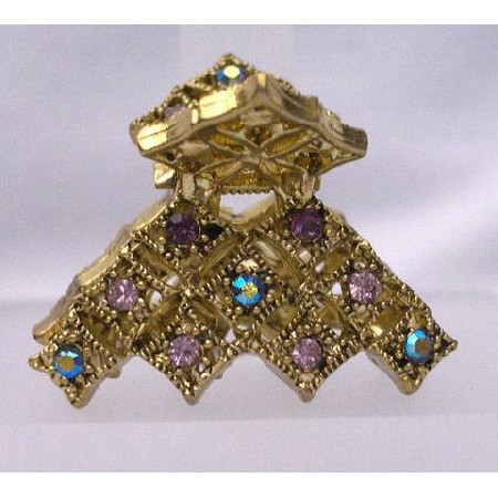Antique Gold Amethyst Crystal Hair Accessories Hair Clamp Clip