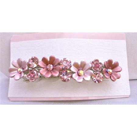 Flower Hair Barrette Fully Sparkling Crystals Embedded On Each Flower
