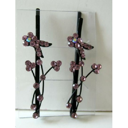Pink Crystal Stem & Flower Pattern Pair Of Hair Accessories Pin / Clip