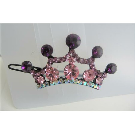 Crown Hair Barrette Crystals Hair Barrette Clip