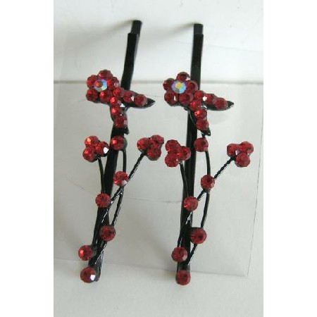 Red Flower Crystal & Stem Pattern Pair Crystal Hair Pin / Clip