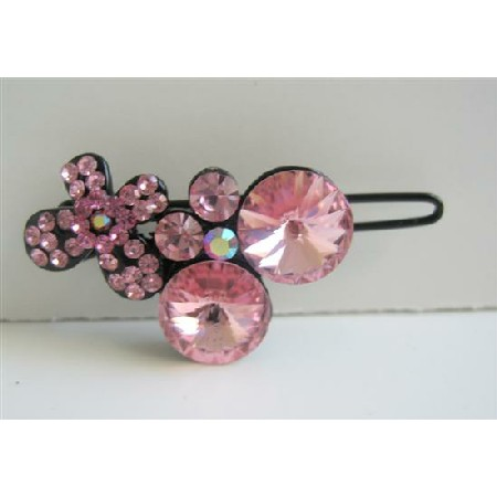 Pink Crystals Hair Clip Rose Pink Crystals Encrusted Hair Pin Clip