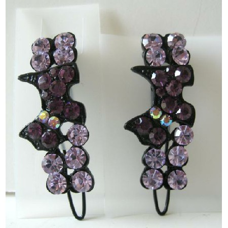 Pair Of Amethyst Crystals Hair Bridal Barrette