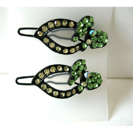 Lemon & Green Heart Crystals Hair Barrette Pair Clip