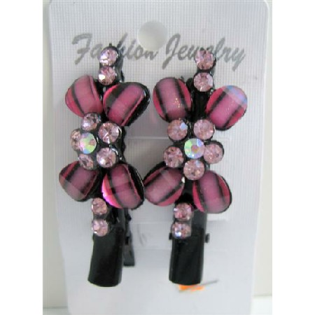 Hair Clamp Pair Vintage Pink Flower Encrusted w/ Rose Pink Crystals