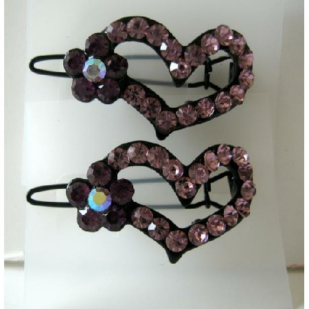 Light & Dark Heart Crystals Hair Barrette Pair Clip